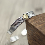 Japanese Design Silver Wings Bangle Bracelet