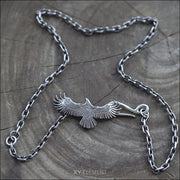 Spread Eagle 925 Sterling Silver Pendant Necklace, Native American Style Jewelry