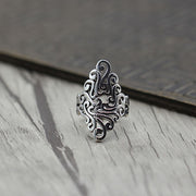 Japanese Floral Hollow Design Solid 925 Sterling Silver Ring