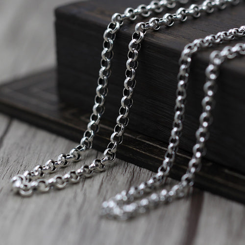 Vintage Style 925 Sterling Silver Rolo Chain