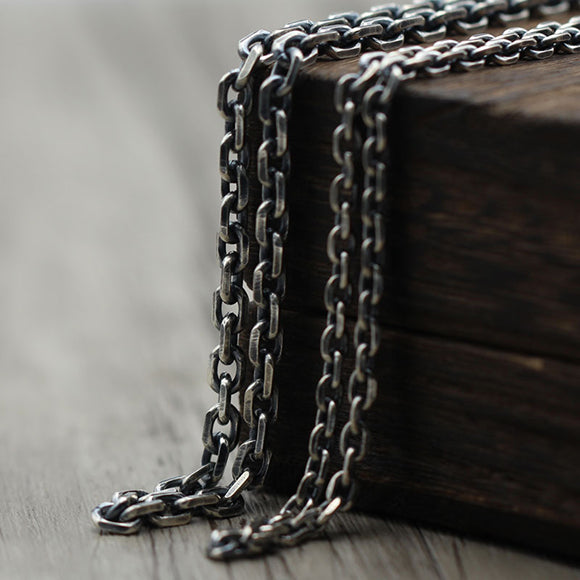 Cornered Silver Chain Oxidized Finish Antique Color Necklace Chain