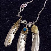 Goro's Style Golden Claw, Leaf Top, Turquoise Decal Feather Pendants Necklace