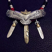 Native American Style Eagle Feather 925 Sterling Silver Necklace