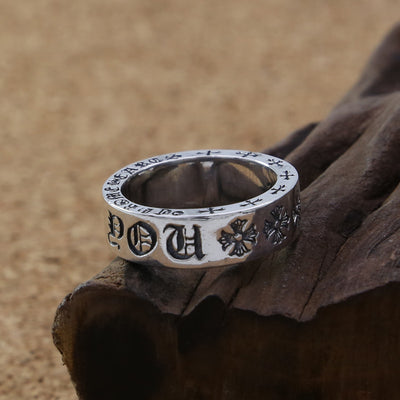 F*CK YOU Old London Letters Ring Solid 925 Sterling Silver