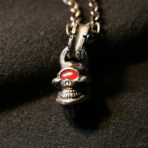 One Eyed Skull Vintage Style 925 Sterling Silver Pendant
