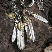 Solid Sterling Silver Feather Pendant Necklace