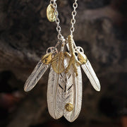 Takahashi Goros Style Feather Pendant Solid 950 Silver Necklace Set