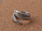 Wrap Rings Solid 925 Sterling Silver Feather Rings