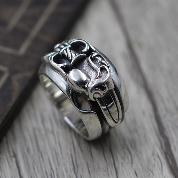 Dagger Heart Ring Gothic Punk Rock Biker Ring Chrome Heart Style 925 Sterling Silver