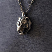 Vintage Style Tiger Face Sterling Silver Pendant