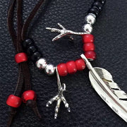 Goro's Style American Native Silver Feather Eagle Claws Necklace