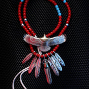 Goro's Style Native American Spread Eagle Feather Sterling Silver Necklace