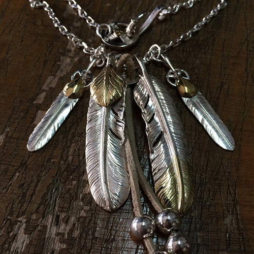 Handcrafted Solid Sterling Silver Native American Feather Pendant Necklace