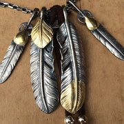 Takahashi Goros Style Native American Feather Pendant Solid 950 Silver Necklace Set