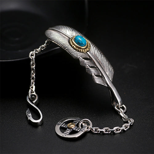 Turquoise Stone Feather 925 Sterling Silver Bracelet Handmade