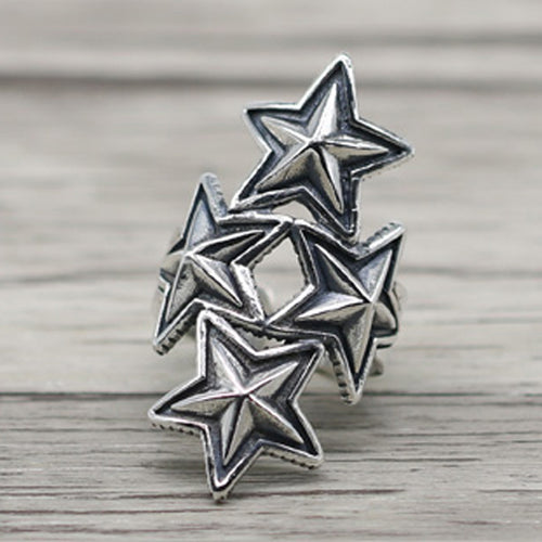 Four Star 925 Sterling Silver Open Ring