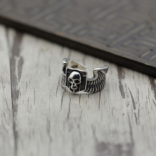 Skull Angel's Wings Solid 925 Sterling Silver Open Ring