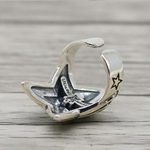 Retro Style Starburst 925 Sterling Silver Open Ring