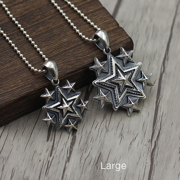 Solid 925 Sterling Silver Six Star Pendant (2 Variants)
