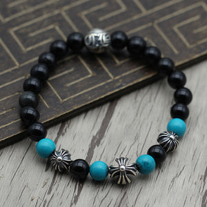Cross Floral 925 Sterling Silver Beads Turquoise Onyx Bracelet