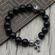 10mm Onyx Solid 925 Sterling Silver Cross Floral Charm Bracelet