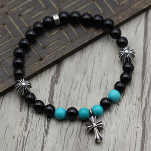 Solid 925 Sterling Silver Cross Floral Charm Onyx Bracelet