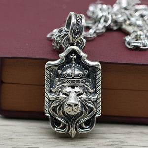 Lion King Crown Pendant, Solid 925 Sterling Silver