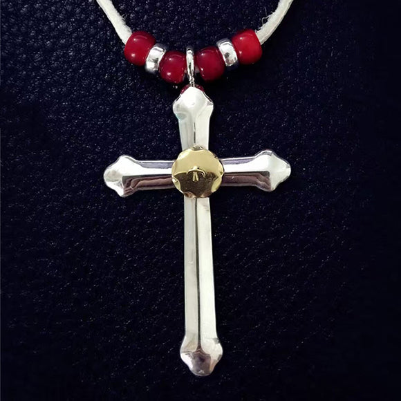 Takahashi Goro's Style 925 Sterling Silver Cross Golden Tag Pendant Necklace