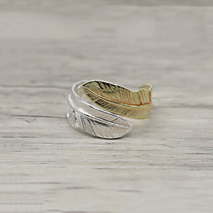 Golden Silver Feathers Solid 925 Sterling Silver Ring