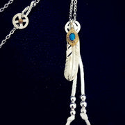 Goro's Style Turquoise Decal Feather 925 Sterling Silver Necklace