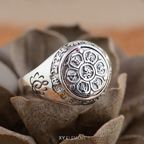 Solid 925 Sterling Silver Buddhist Mantra Lotus Ring (5.5-12.5)