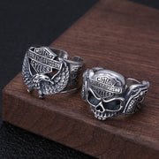 Skull Eagle Biker Ring 925 Sterling Silver