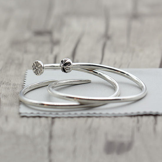 Nail Bangle Cuff Solid 925 Sterling Silver [2 Variations]