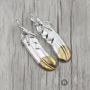 Solid Sterling Silver Claw Feather with Golden Tip Pendant