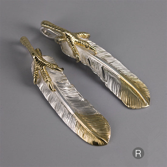 Goro's Style Golden Clawed Feather with Golden Tip Solid Sterling Silver Pendant