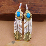 Goro's Style Turquoise Golden Rope Feather Solid Sterling Silver Pendant