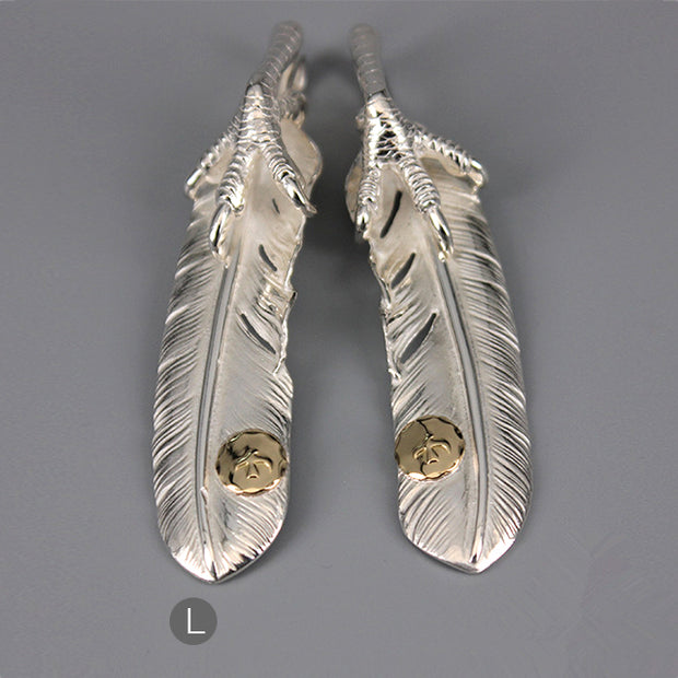 Goro's Style Silver Clawed Feather with Golden Stamp Solid Sterling Silver Pendant