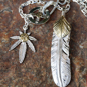Takahashi Goro's Style Sunflower Leaf Feather Pendant Necklace