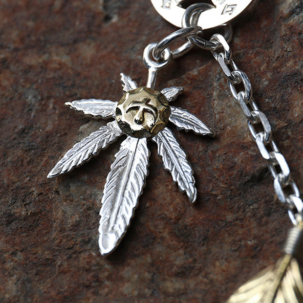 Handcrafted Solid Sterling Silver Sunflower Leaf Feather Pendant Necklace