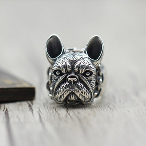 Bulldog Solid 925 Sterling Silver Open Ring