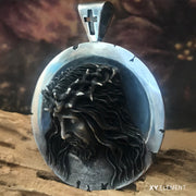 Jesus Christ and The Holy Grail Solid 925 Sterling Silver Pendant