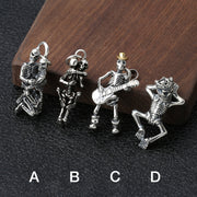Love You Until Die Skeleton Lovers Guitarist Pendant Solid 925 Sterling Silver