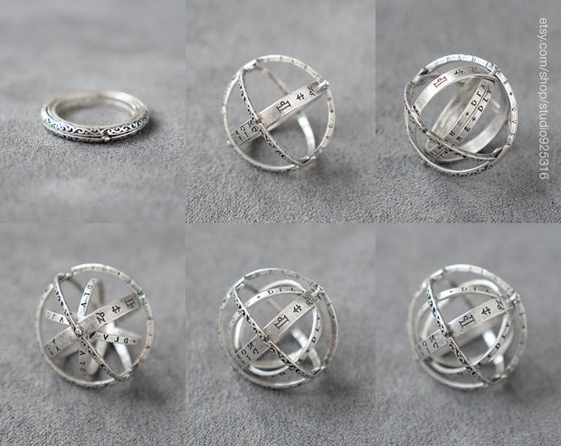 Special Unique Foldable Astronomical Armillary Spheres Ring 925 Sterling Silver