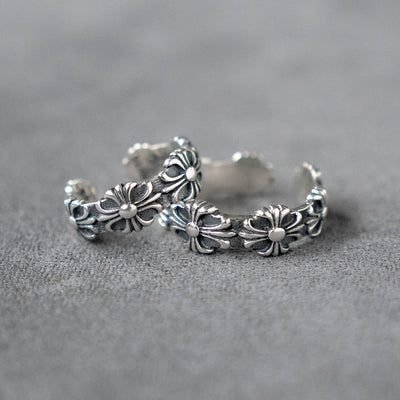 Silver Cross Floral Open Ring