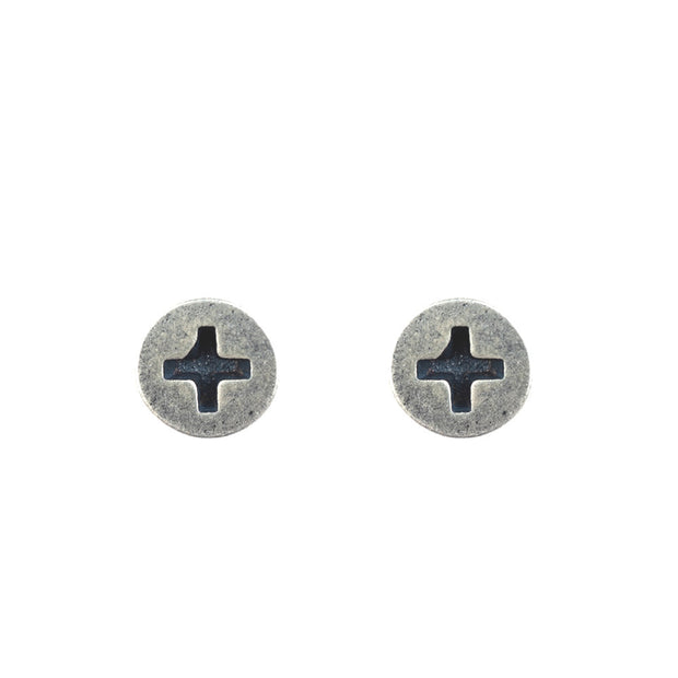 Minimalist Silver Screw Stud Earring