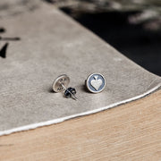 Silver Poker heart Stud Earring