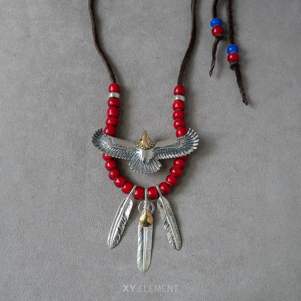 Silver Spread Eagle Feather Charms Japanese Glass Beads Deer Leather Necklace