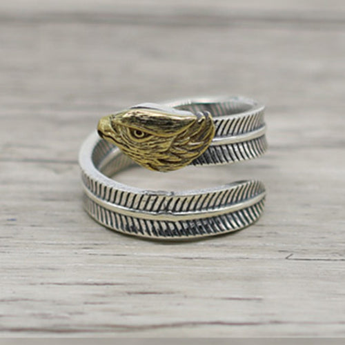 Double Sided Golden Eagle Sterling Silver Resizable Ring
