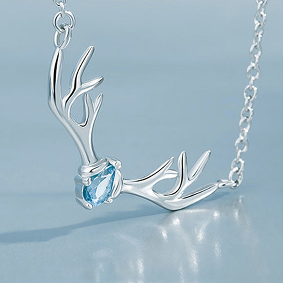Crystal Deer Antler Solid 925 Sterling Silver Pendant Necklace