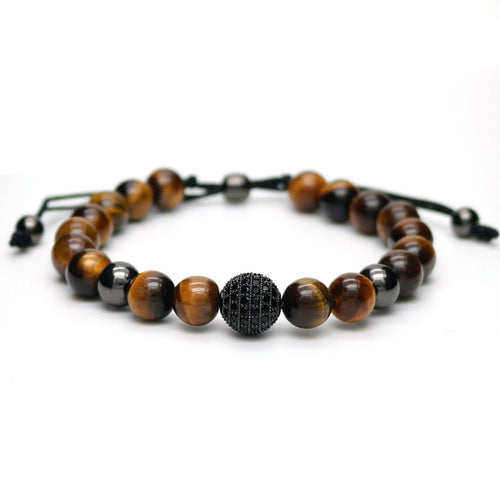 8mm Natural Tiger's Eye Stone 10mm Micro Pave CZ Ball Bracelet [3 Colors]